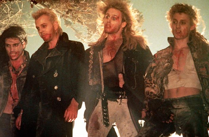 THE LOST BOYS, from left, Billy Wirth, Kiefer Sutherland, Brooke McCarter, Alex Winter, 1987, ((C)Warner Bros / Courtesy Everett Collection)