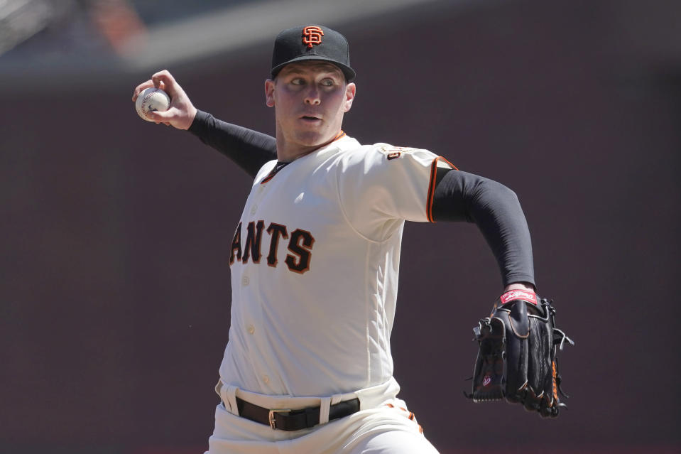 San Francisco Giants pitcher Anthony DeSclafani throws against the Colorado Rockies during the first inning of a baseball game in San Francisco, Sunday, April 11, 2021. (AP Photo/Jeff Chiu)