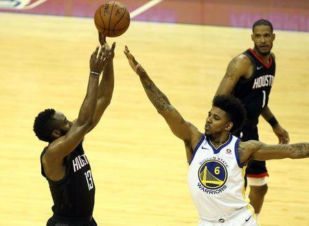 May 16, 2018; Houston, TX, USA; Houston Rockets guard James Harden (13) shoots against Golden State Warriors guard Nick Young (6) during the second half in game two of the Western conference finals of the 2018 NBA Playoffs at Toyota Center. Mandatory Credit: Troy Taormina-USA TODAY Sports
