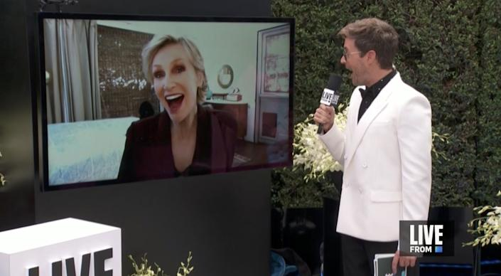 Host Brad Goreski chats with Emmy winner and actress Jane Lynch