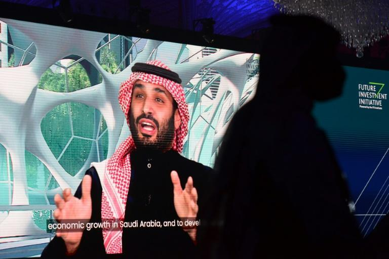 In this file photo taken on January 28, 2021 Saudi Crown Prince Mohammed bin Salman speaks during a conference in a virtual session in the capital Riyadh