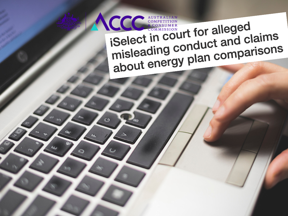 ACCC is dragging iSelect to court. <em>(Photos: Getty, ACCC, Yahoo Finance)</em>
