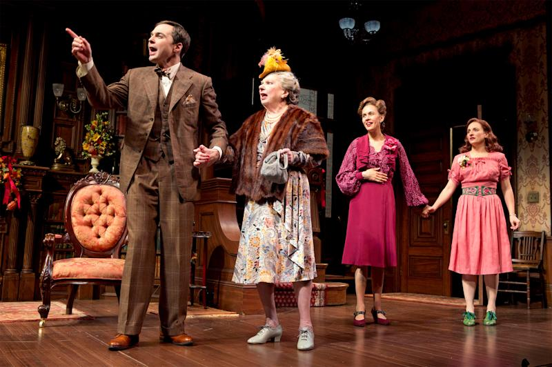 "This undated theater image released by Boneau/Bryan-Brown shows, from left, Jim Parsons, Angela Paton, Jessica Hecht and Tracee Chimo in a scene from ""Harvey,"" in New York. (AP Photo/Boneau/Bryan-Brown, Joan Marcus)"