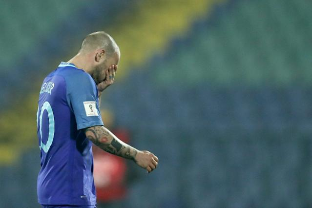 """<a class=""""link rapid-noclick-resp"""" href=""""/soccer/players/wesley-sneijder"""" data-ylk=""""slk:Wesley Sneijder"""">Wesley Sneijder</a> and the Netherlands are having a rough World Cup qualification campaign thus far. (Getty)"""