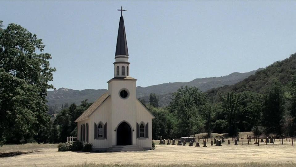 Paramount Ranch's church as it appears in <i>Westworld</i>. (Photo: HBO)