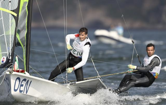 2016 Rio Olympics - Sailing - Final - Men's Skiff - 49er - Medal Race - Marina de Gloria - Rio de Janeiro, Brazil - 18/08/2016. Jonas Warrer (DEN) of Denmark and Christian Peter Stephensen Lubeck (DEN) of Denmark compete. REUTERS/Benoit Tessier FOR EDITORIAL USE ONLY. NOT FOR SALE FOR MARKETING OR ADVERTISING CAMPAIGNS.