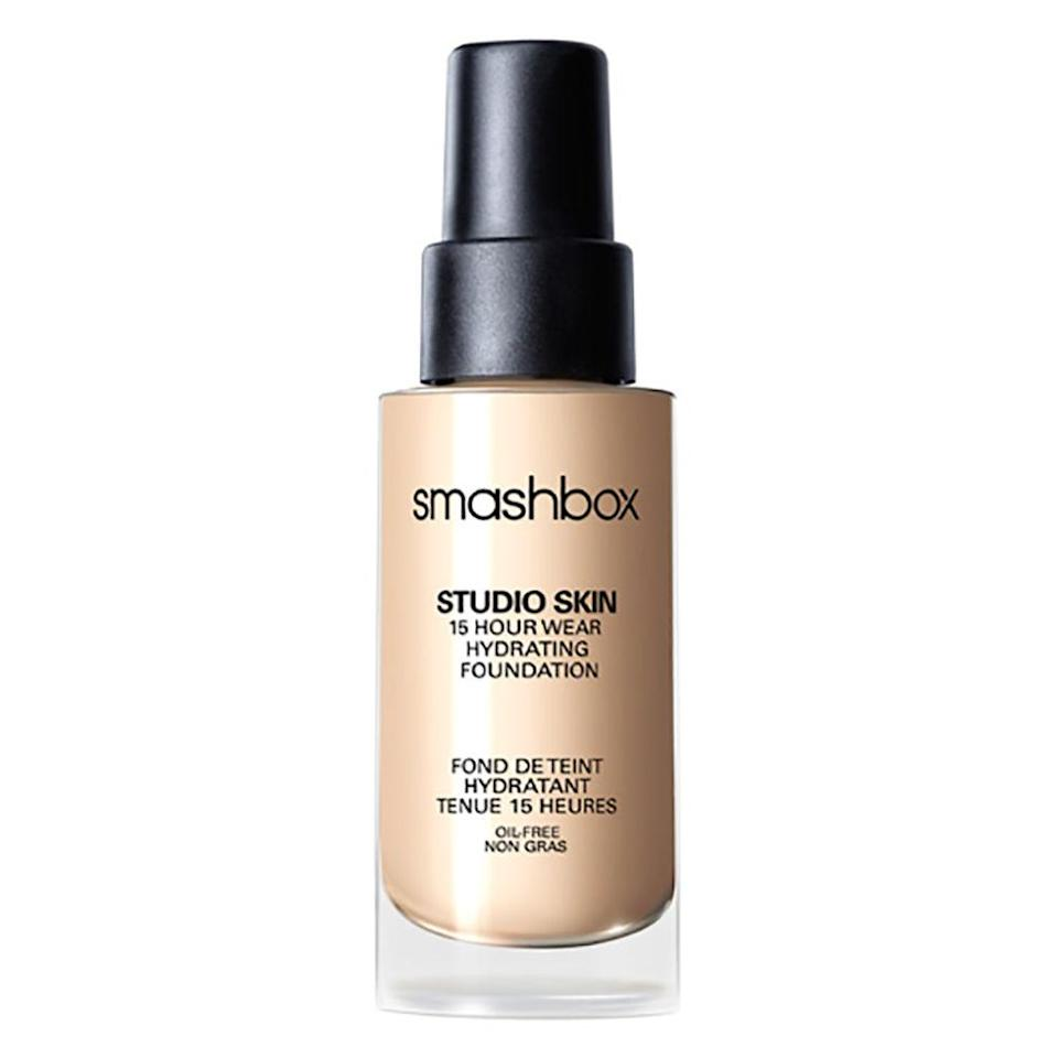 """<p>This is <em>the </em><span>foundation for oily or acne-prone skin in need of hydration, thanks to its unique oil-free formula that moisturizes without clogging pores. It's also got light-diffusing spheres that cover and blur imperfections. </span>($42; <a rel=""""nofollow noopener"""" href=""""http://www.sephora.com/studio-skin-15-hour-wear-foundation-P292403"""" target=""""_blank"""" data-ylk=""""slk:sephora.com"""" class=""""link rapid-noclick-resp"""">sephora.com</a>)</p>"""