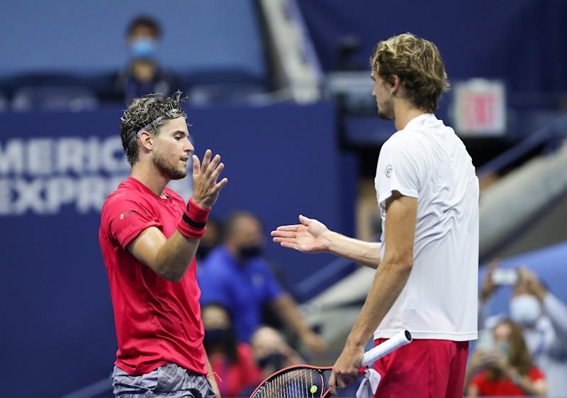 Dominic Thiem shakes hands with Alexander Zverev after winning their Men's Singles final match on Day Fourteen of the 2020 US Open.
