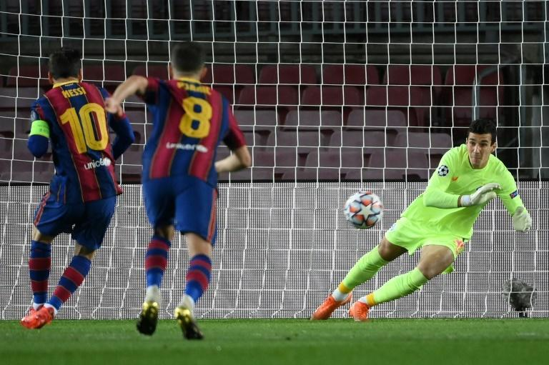 Lionel Messi scored his fourth penalty of the season to put Barca in front against Dynamo Kiev on Wednesday