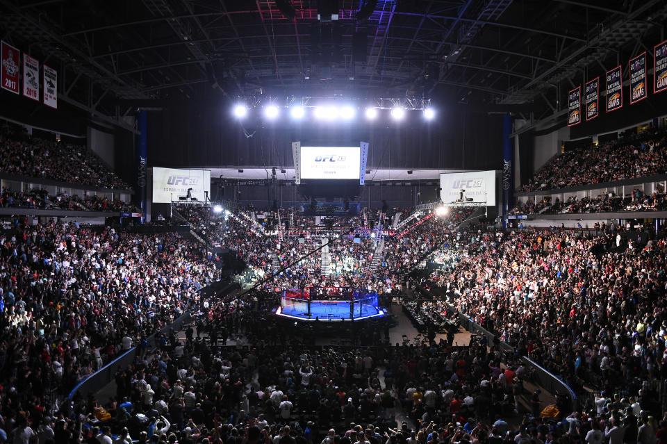 JACKSONVILLE, FLORIDA - APRIL 24: A general view of the Octagon with a sold out crowd of fans during the UFC 261 event at VyStar Veterans Memorial Arena on April 24, 2021 in Jacksonville, Florida. (Photo by Chris Unger/Zuffa LLC)