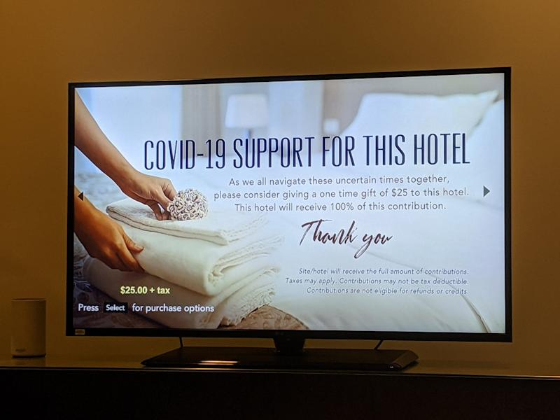 Hotels are not hosting as many guests during the coronavirus pandemic — though one guest was surprised to see a solicitation for donations to the hotel in his Hyatt room earlier this week.