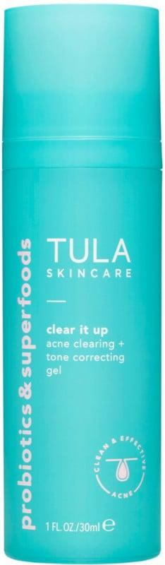 <p>The <span>Tula Clear It Up Acne Clearing and Tone Correcting Gel</span> ($36) is perfect for those who have reactive and acne-prone skin.</p>