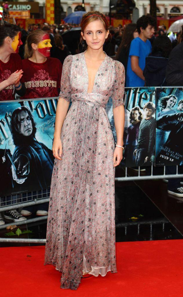 <p>The Little Women star wore a vintage Ossie Clark dress to the premiere. </p>