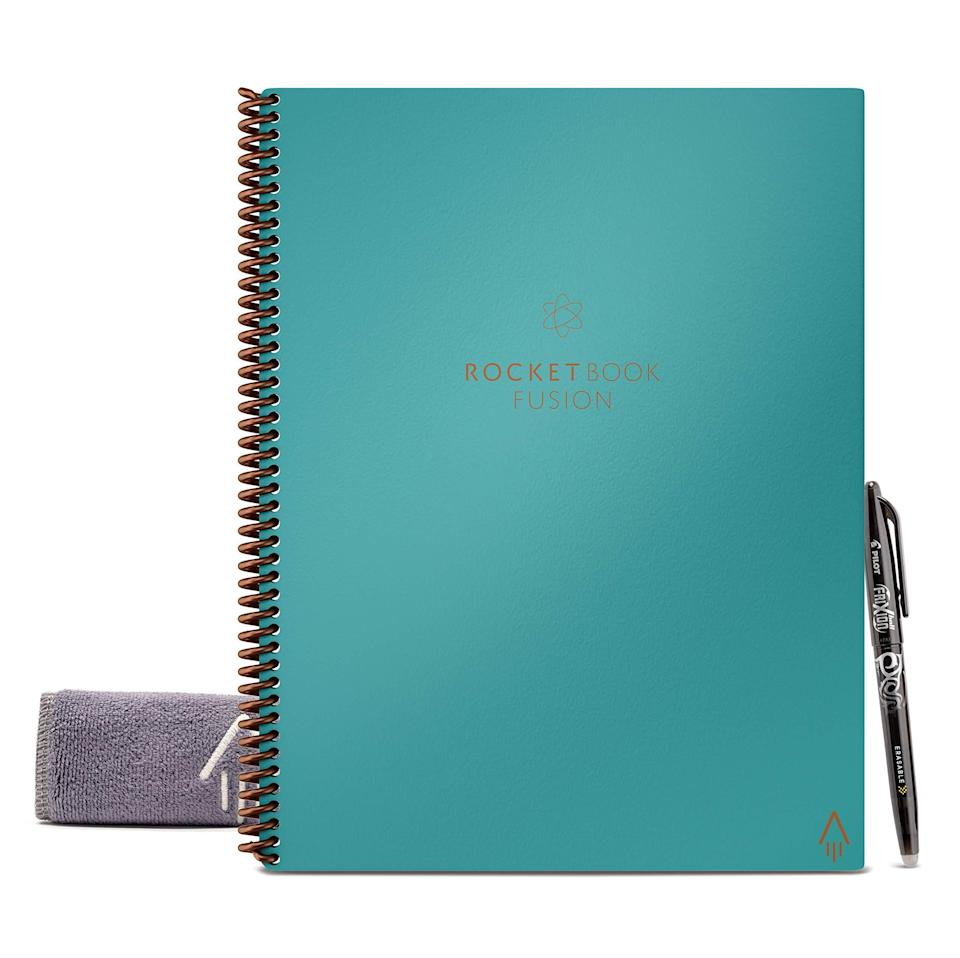 "<h2>Fusion Smart Reusable Notebook</h2><br><br><strong>Rocketbook</strong> Rocketbook Fusion Smart Reusable Notebook, $, available at <a href=""https://amzn.to/2SPPOfo"" rel=""nofollow noopener"" target=""_blank"" data-ylk=""slk:Amazon"" class=""link rapid-noclick-resp"">Amazon</a>"
