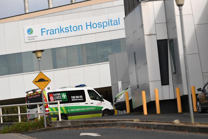 Pictured is an ambulance entering Frankston Hospital. Source: AAP