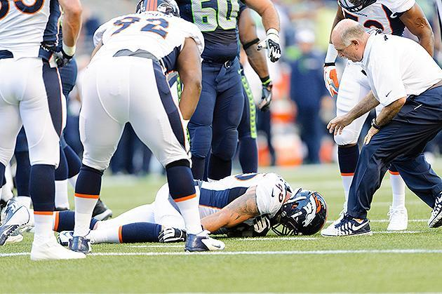 Denver Broncos defensive lineman Derek Wolfe taken off field in an ambulance after scary hit