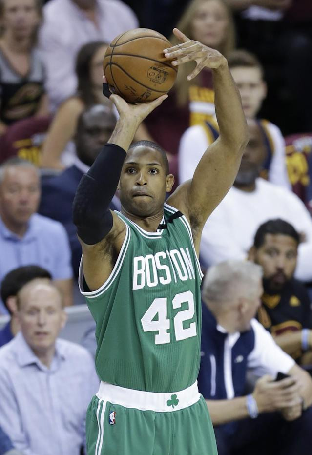 <p>Boston Celtics' Al Horford (42), from Dominican Republic, shoots against the Cleveland Cavaliers during the first half of Game 4 of the NBA basketball Eastern Conference finals, Tuesday, May 23, 2017, in Cleveland. (AP Photo/Tony Dejak) </p>