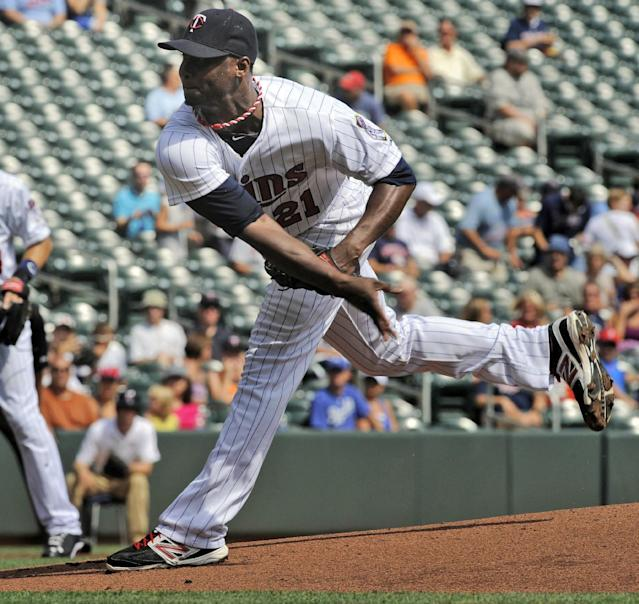 Minnesota Twins' Samuel Deduno pitches against the Kansas City Royals during the first inning of an baseball game Wednesday, May 29, 2013, in Minneapolis. (AP/Photo Tom Olmscheid)Olmscheid)