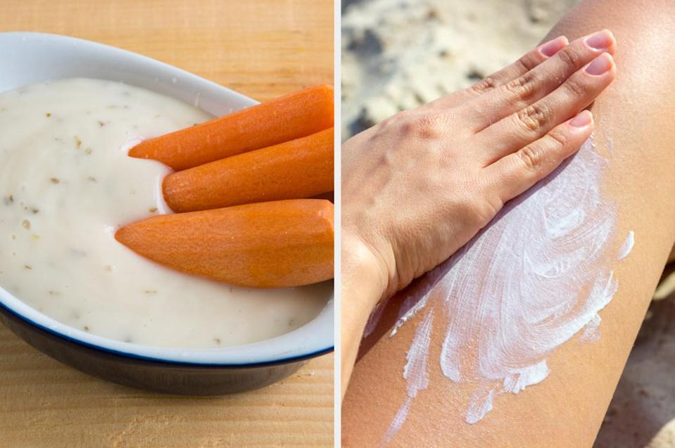 carrot in ranch dressing, next to a hand applying sunscreen to a leg