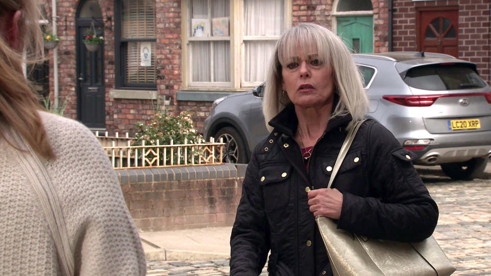 FROM ITV  STRICT EMBARGO - No Use Before Tuesday 25th May 2021  Coronation Street - Ep 10339  Monday 31st May 2021  Determined that Rita should know the truth, Jenny Connor [SALLY ANN MATTHEWS] bangs on her door, however when Sharon Bentley [TRACIE BENNETT] appears it looks like Jenny could be in grave danger!   Picture contact David.crook@itv.com   This photograph is (C) ITV Plc and can only be reproduced for editorial purposes directly in connection with the programme or event mentioned above, or ITV plc. Once made available by ITV plc Picture Desk, this photograph can be reproduced once only up until the transmission [TX] date and no reproduction fee will be charged. Any subsequent usage may incur a fee. This photograph must not be manipulated [excluding basic cropping] in a manner which alters the visual appearance of the person photographed deemed detrimental or inappropriate by ITV plc Picture Desk. This photograph must not be syndicated to any other company, publication or website, or permanently archived, without the express written permission of ITV Picture Desk. Full Terms and conditions are available on  www.itv.com/presscentre/itvpictures/terms