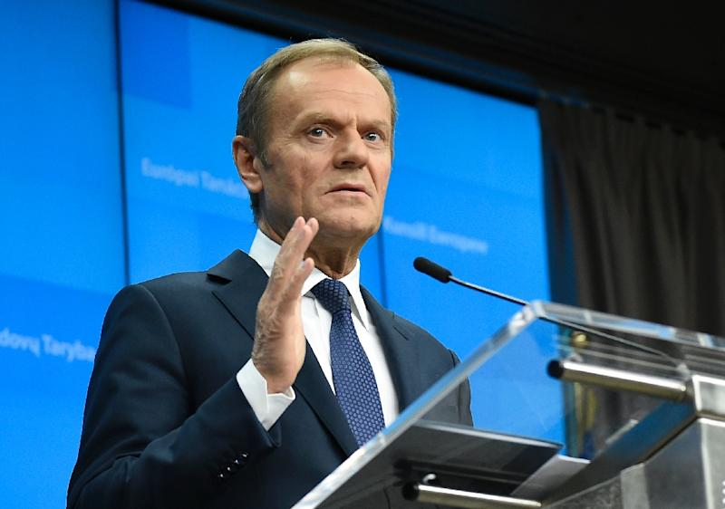 "EU Council President Donald Tusk has ""until April 12, anything is possible"" (AFP Photo/JOHN THYS)"