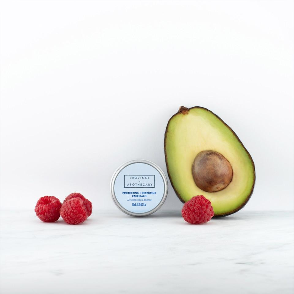 """The Protecting & Restoring Face Balm works beautifully to nourish and provide a protective barrier when facing icy temperatures and winds, and can also be used to heal scars post-injury. <a href=""""https://provinceapothecary.ca/products/protecting-restoring-face-balm?_pos=1&_sid=58a8cc668&_ss=r"""" target=""""_blank"""" rel=""""noopener noreferrer"""">Get it here</a>."""