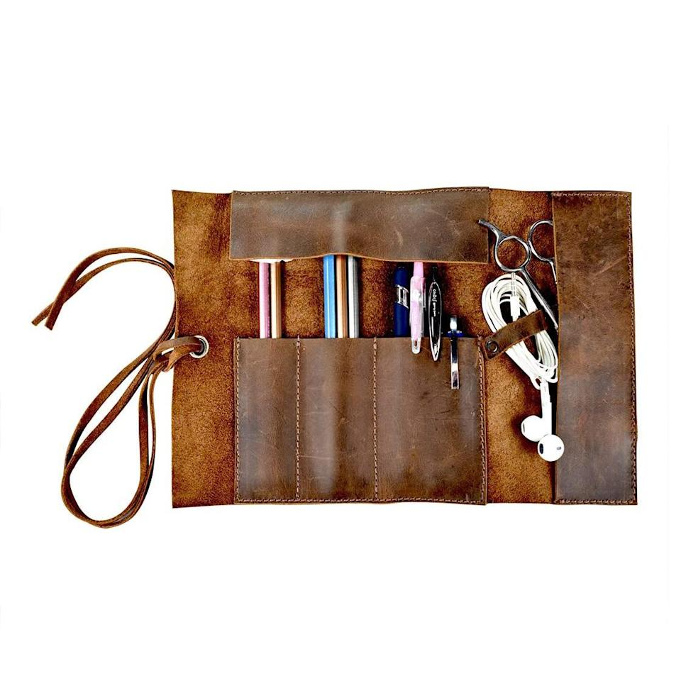 Hide & Drink Rustic Leather Pencil Roll Pouch