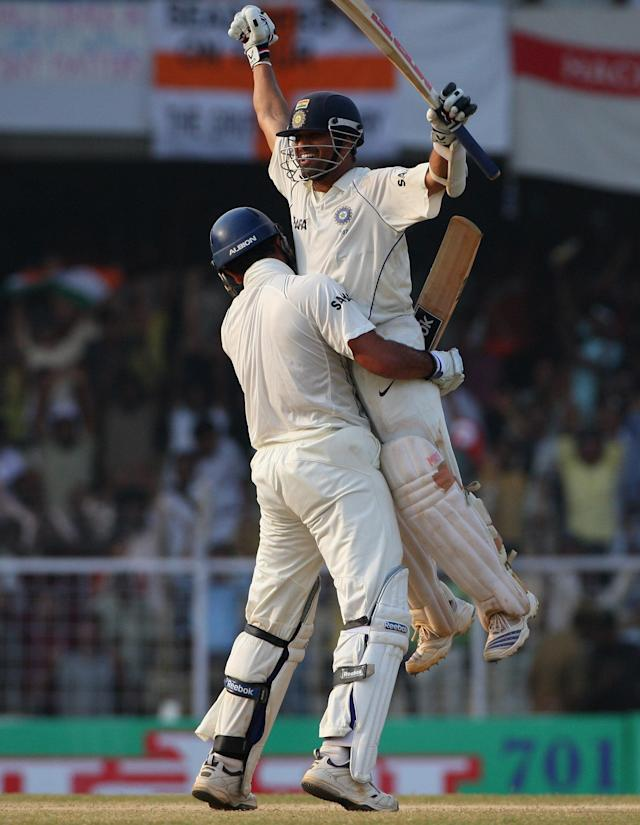 CHENNAI, INDIA - DECEMBER 15: Sachin Tendulkar of India is lifted up by Youvraj Singh of India after scoring the winning runs and reaching his century during day 5 of the First Test Match between India and England at the MA Chidambaram Stadium on December 15, 2008 in Chennai, India. (Photo by Global Cricket Ventures/BCCI via Getty Images)