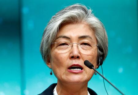 FILE PHOTO: South Korean Foreign Minister Kang Kyung-Wha attends a news conference after the ASEM leaders summit in Brussels, Belgium October 19, 2018.