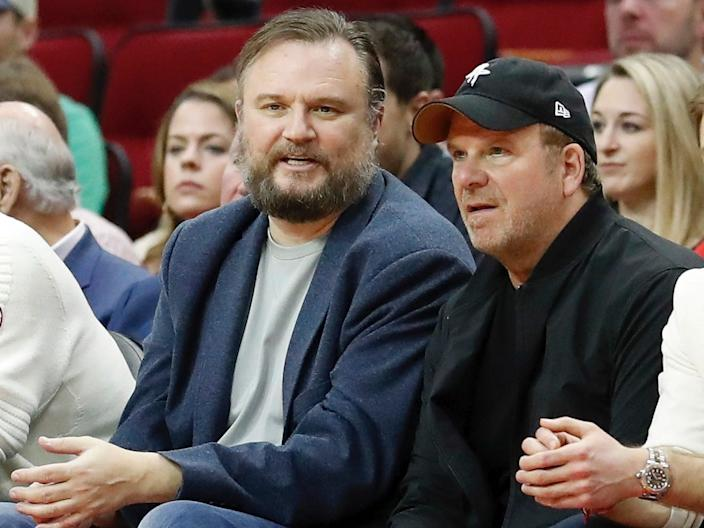 Houston Rockets general manager Daryl Morey, left, next to the team's owner, Tilman Fertitta.