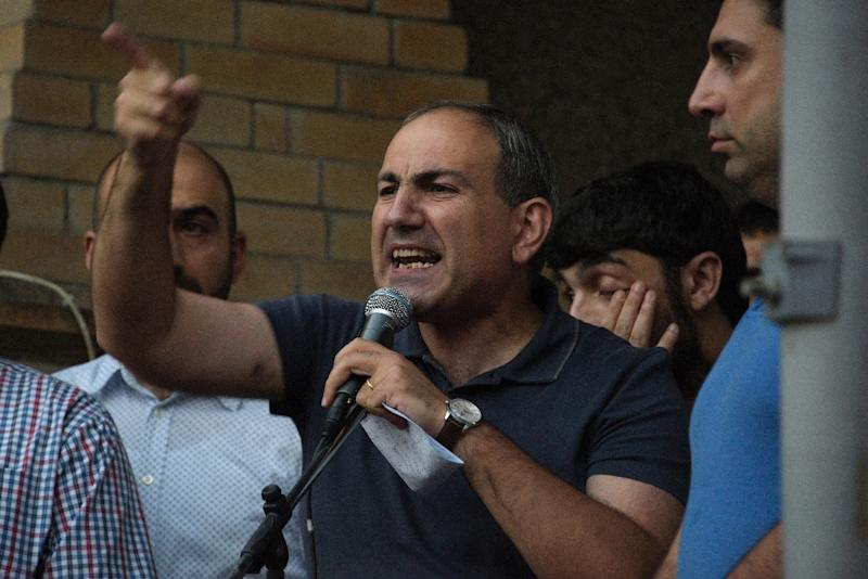 With his fiery rhetoric and penchant for asking awkward questions, Nikol Pashinyan has proved a thorn in the side of Armenia's ruling party (AFP Photo/KAREN MINASYAN)