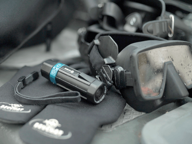 Dedicated dive camera adds depth data to video down to 656 feet