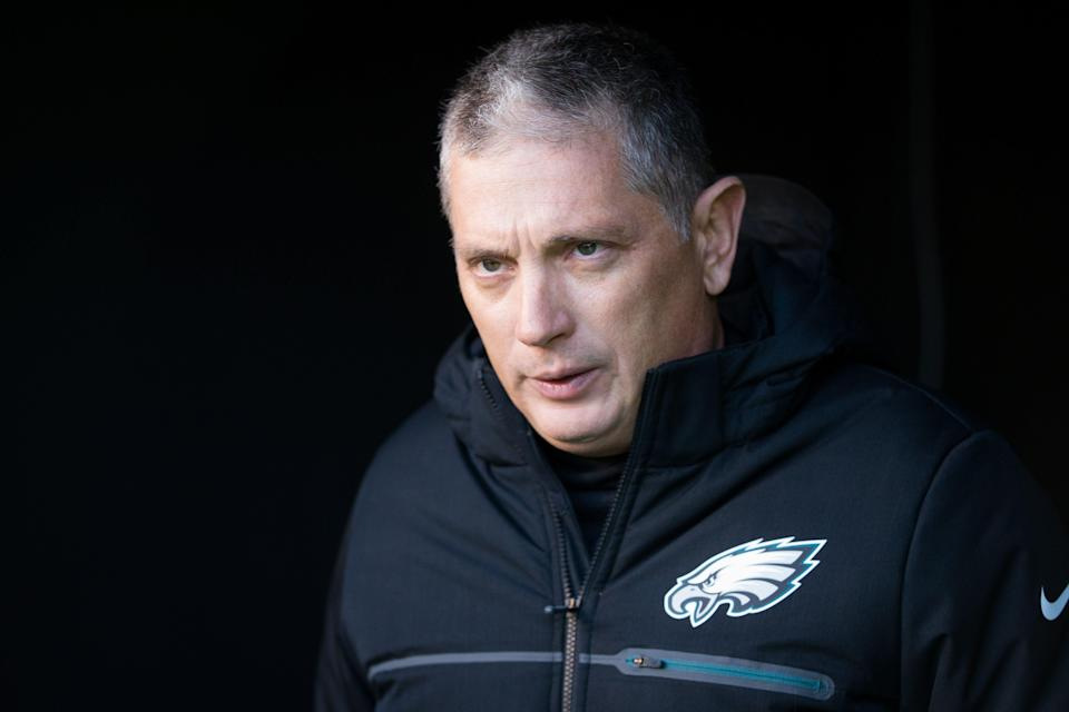 Jan 13, 2018; Philadelphia, PA, USA; Philadelphia Eagles defensive coordinator Jim Schwartz walks out of the tunnel for a game against the Atlanta Falcons at Lincoln Financial Field. Mandatory Credit: Bill Streicher-USA TODAY Sports
