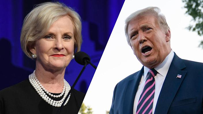 Cindy McCain and President Trump. (FilmMagic/FilmMagic for U.S.VETS via Getty Images; Drew Angerer/Getty Images)