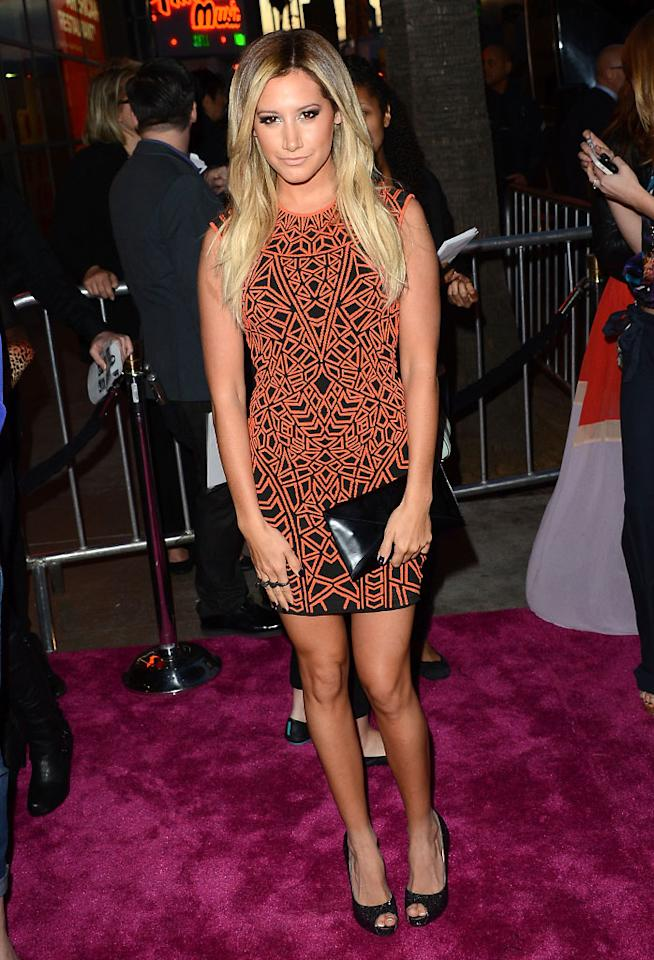 "Ashley Tisdale attends the ""Spring Breakers"" premiere at ArcLight Cinemas on March 14, 2013 in Hollywood, California."