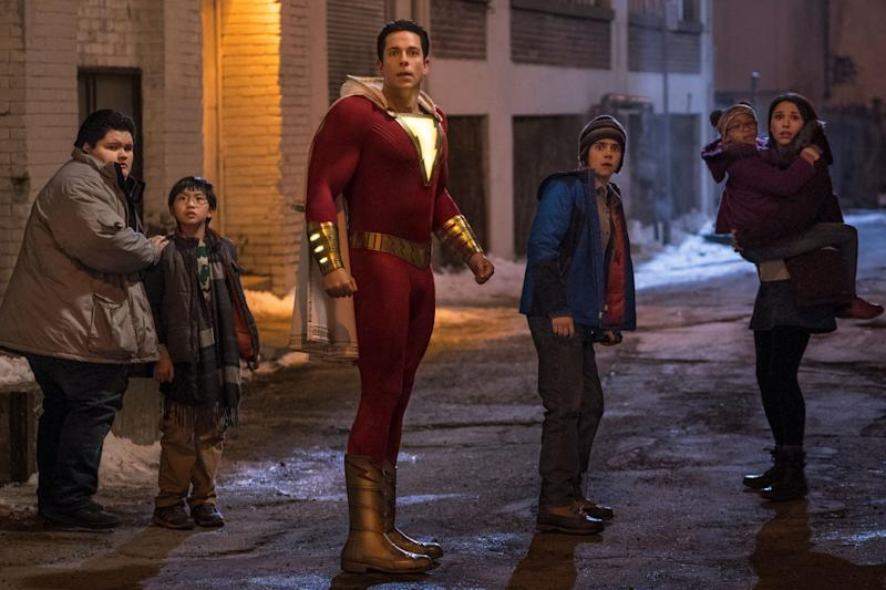 Jovan Armand as Pedro Pena, Ian Chen as Eugene Choi, Zachary Levi as Shazam, Jack Dylan Grazer as Freddy Freeman, Faithe Herman as Darla Dudley and Grace Fulton as Mary Bromfiels in <i>Shazam!</i> (Photo: New Line Cinema/Warner Bros. Pictures )