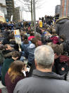 """<p>A crowd in London crouches down for a three-minute """"die-in.""""<br> (Photo: Erin Donnelly for Yahoo Lifestyle) </p>"""