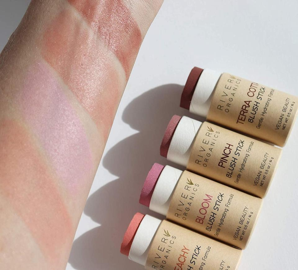 <p>Your cheeks will have a beautiful flush of color with the <span>River Organics Vegan Blush Sticks</span> ($18).</p>