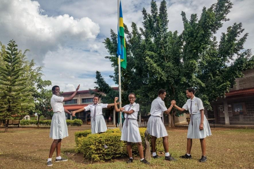Cynthia Ikirezi (centre) beams with her fellow prefects, student leaders, at Gashora Girls Academy in Rwanda. Educating girls and preparing them for leadership roles are government priorities to empower women. (National Geographic/Yagazie Emezi)