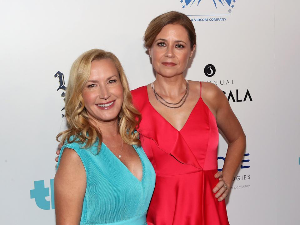 The Office US stars Angela Kinsey (left) and Jenna Fischer turned their off-screen friendship into a podcastGetty Images