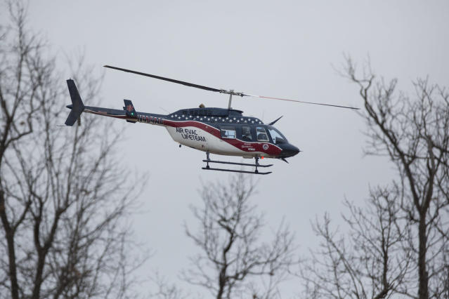 <p>An Air-Evac Lifeteam helicopter departs Marshall County High School, Jan. 23, 2018, in Benton, Ky., after a fatal school shooting. (Photo: Ryan Hermens/The Paducah Sun via AP) </p>