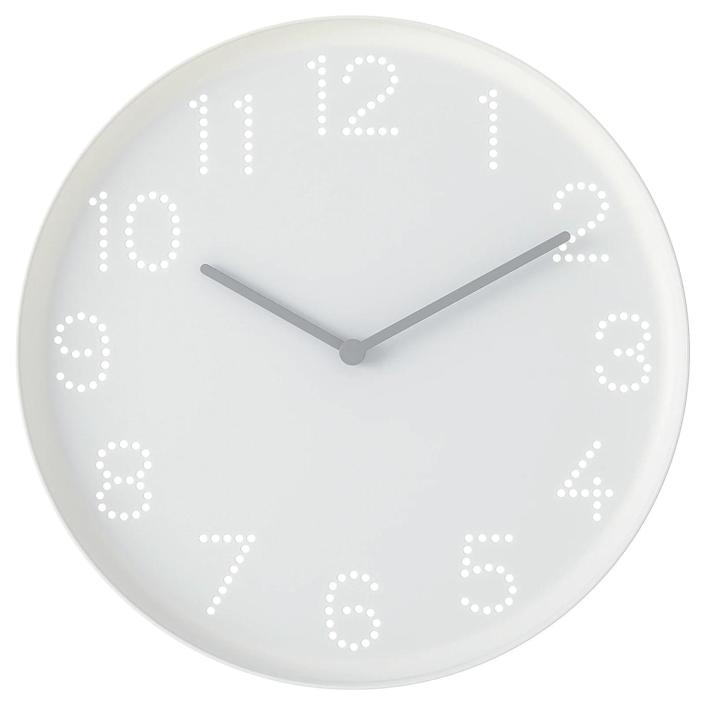 """Clocking in at just $2, you will not find a better deal. The battery-operated plastic pick may be basic, but it's well designed and would fit a playroom or casual kitchen just fine. We love how the perforated numbers let the color of the wall behind them shine through. The diameter is just under 10 inches. $2, Ikea. <a href=""""https://www.ikea.com/us/en/p/tromma-wall-clock-white-80454290/"""" rel=""""nofollow noopener"""" target=""""_blank"""" data-ylk=""""slk:Get it now!"""" class=""""link rapid-noclick-resp"""">Get it now!</a>"""