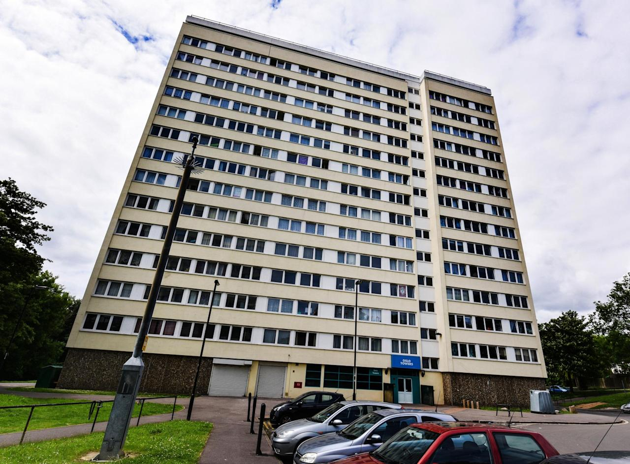 <p>The building which houses Adrian Reeman's council flat in Southampton. (Caters News Agency) </p>