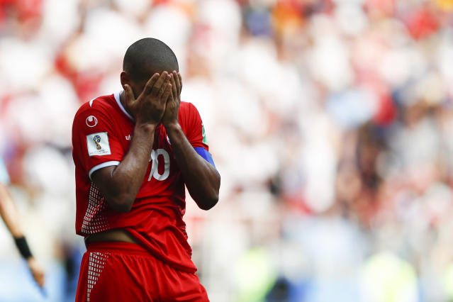 Tunisia's Wahbi Khazri reacts after missing a chance to score during the group G match between Belgium and Tunisia at the 2018 soccer World Cup in the Spartak Stadium in Moscow, Russia, Saturday, June 23, 2018. (AP Photo/Matthias Schrader)