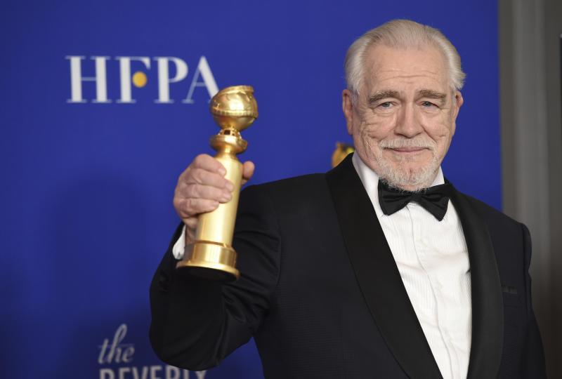 "Brian Cox poses in the press room with the award for best performance by an actor in a television series, drama for ""Succession"" at the 77th annual Golden Globe Awards at the Beverly Hilton Hotel on Sunday, Jan. 5, 2020, in Beverly Hills, Calif. (AP Photo/Chris Pizzello)"