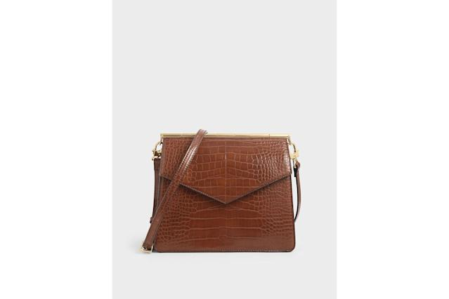 Charles & Keith Croc-Effect Angular Crossbody Bag