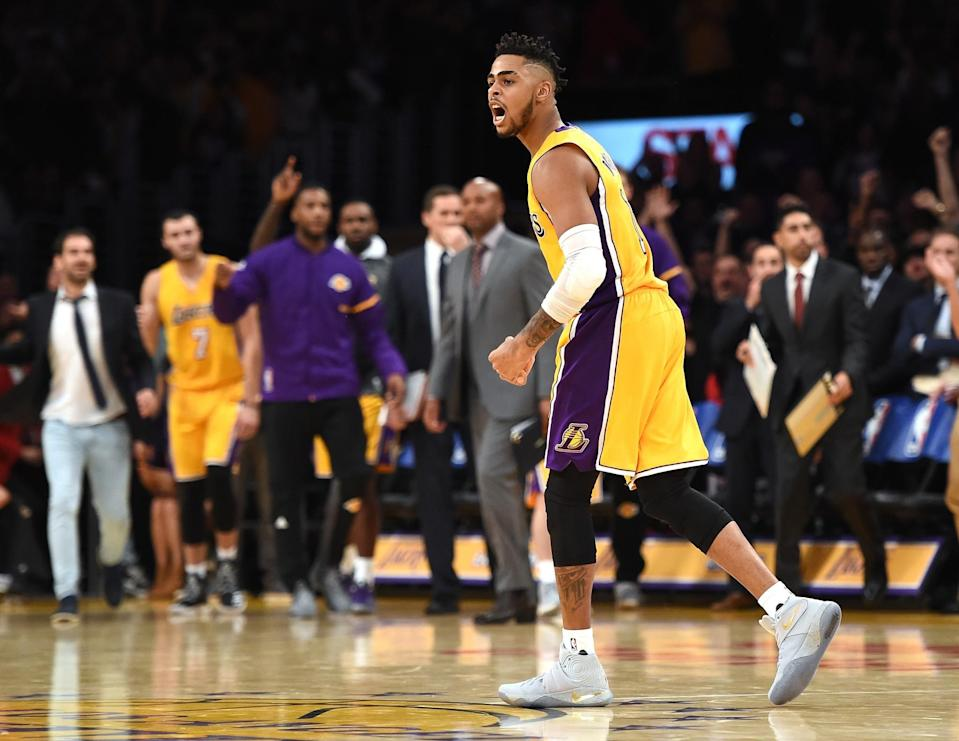 D'Angelo Russell scored 20 points in the Lakers' season-opening victory. (Getty)