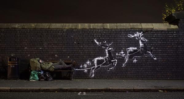 Banksy draws attention to homelessness in street art Christmas piece