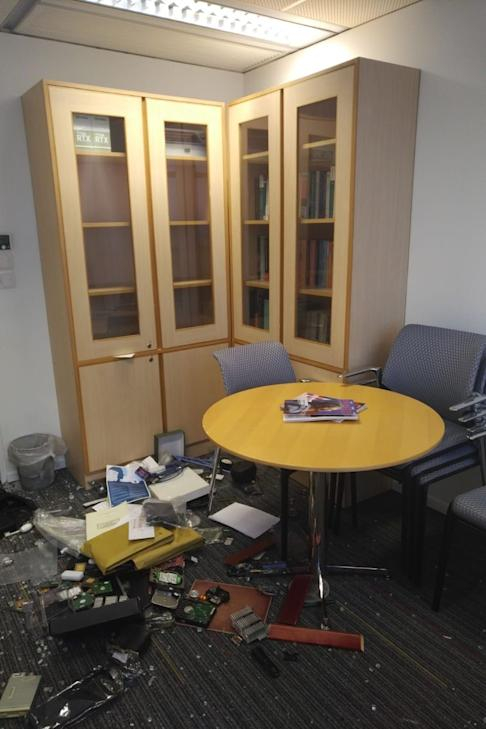 Xu Jiang, a mainland professor at the university's department of electronic and computer engineering, had his office smashed by violent protesters on Friday. Photo: Xu Jiang