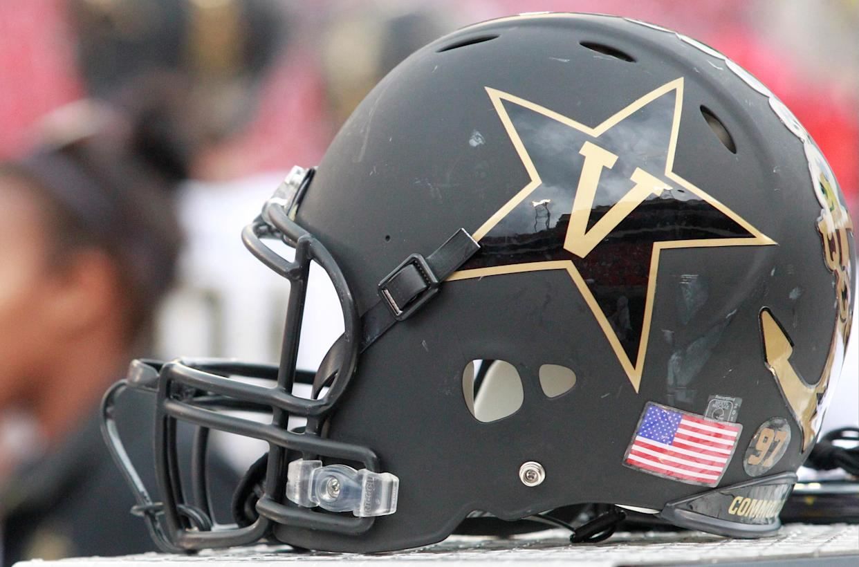 October 15 2016: The helmet of the Vanderbilt Commodores. The Vanderbilt Commodores defeated the Georgia Bulldogs 17-16 at Sanford stadium in Athens, Georgia. (Photo by Charles Mitchell/Icon Sportswire via Getty Images)